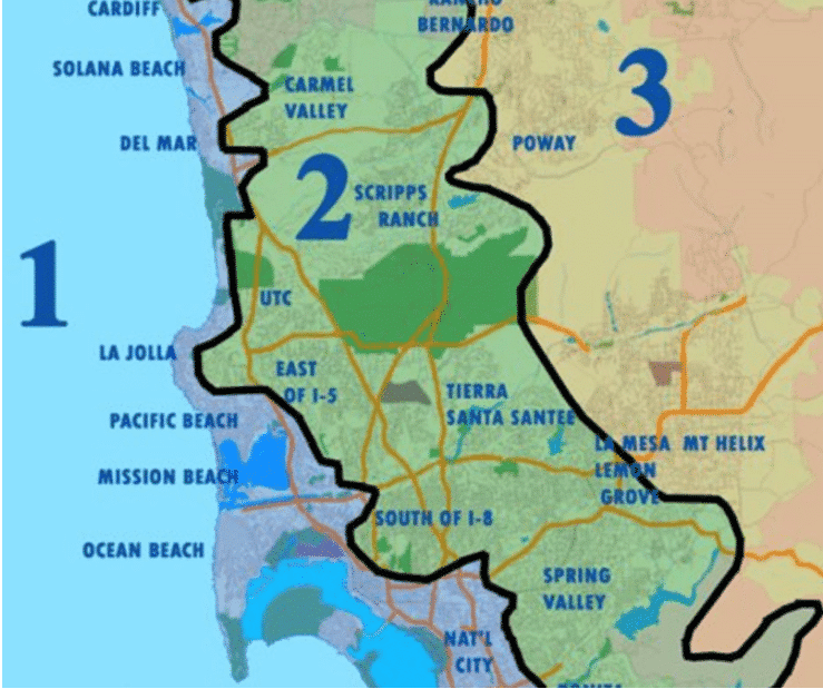 Map of Zones 1, 2, and 3
